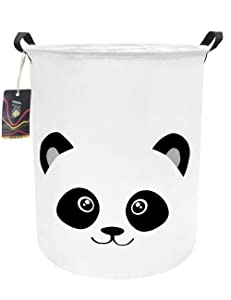 HKEC 19.7'' Waterproof Foldable Storage Bin, Dirty Clothes Laundry Basket, Canvas Organizer Basket for Laundry Hamper, Toy Bins, Gift Baskets, Bedroom, Clothes, Baby Hamper(Panda)