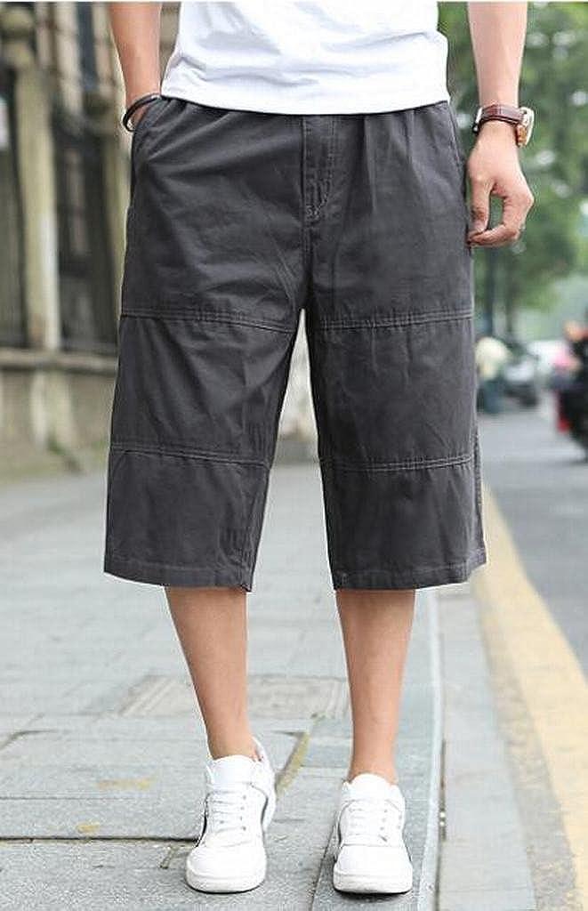 MOUTEN Mens Elastic Waist Solid Color Loose Capri Pants Casual Plus Size Cargo Shorts