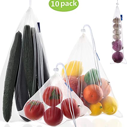Reusable Mesh Produce Bags,4 Size Lightweight Washable and See Through Mesh Shopping Merchandise Bags with Drawstring,Fruit and Vegetable Bags For ...