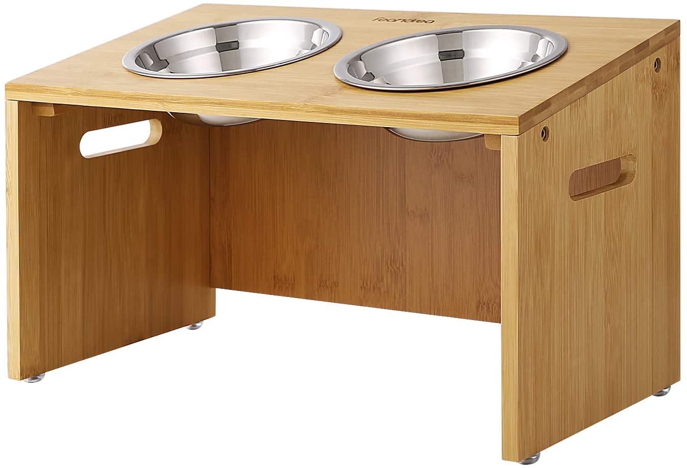 FEANDREA Raised Bowls, Bamboo Elevated Dog Bowl Stand, Anti-Slip Design, 15° Tilt Design, with 2 Removable Stainless Steel Bowls, 10.2 Inches, Natural UPRB02N