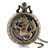 SAO Pretty Soldier Pikachu Fullmetal Alchemist Pocket Watch, Japan Anime Pocket Watches Necklace, Gifts for Fans Boys Girls