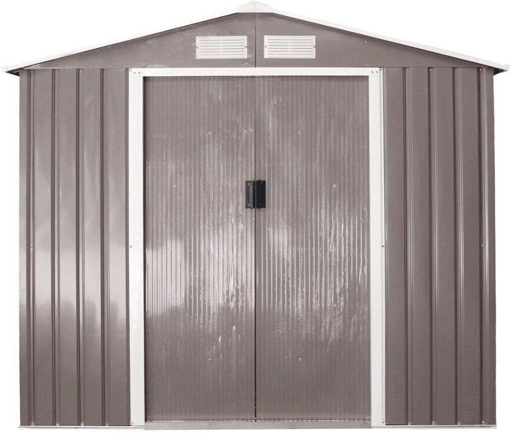 SHIJING Garden Storage Shed Workshop Tool House Shelter Sheds Steel Base Outdoor 7'x4'