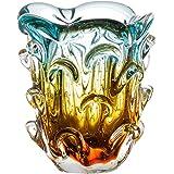 Vaso Em Cristal Murano Água Marinha E Âmbar São Marcos