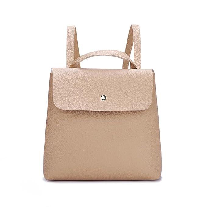 45d494a5ab Hiroo Borsa a Zainetto Donne Ragazza Colore Puro Borsa di Pelle Mini Bag  Cartella Zaino Borsa