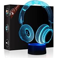Headphone 3D Illusion Lamp Christmas Gift Night Light Beside Table Lamp, Jawell 7 Colors Auto Changing Touch Switch Desk Decoration Lamps Birthday Gift with Acrylic Flat & ABS Base & USB Cable