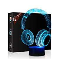 Headphone 3D Illusion Lamp Mother's Day Gift Night Light Beside Table Lamp, Jawell 7 Colors Auto Changing Touch Switch Desk Decoration Lamps Birthday Christmas Gift with Acrylic Flat & ABS Base & USB Cable