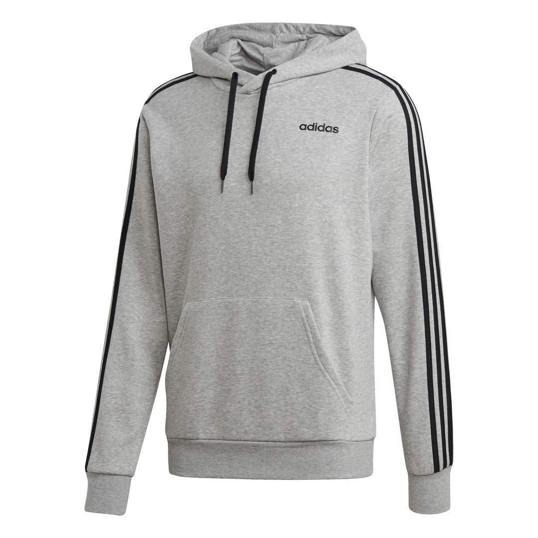 adidas Essentials Men's 3-Stripes Hoodie, Medium Grey Heather/Black, Large by adidas