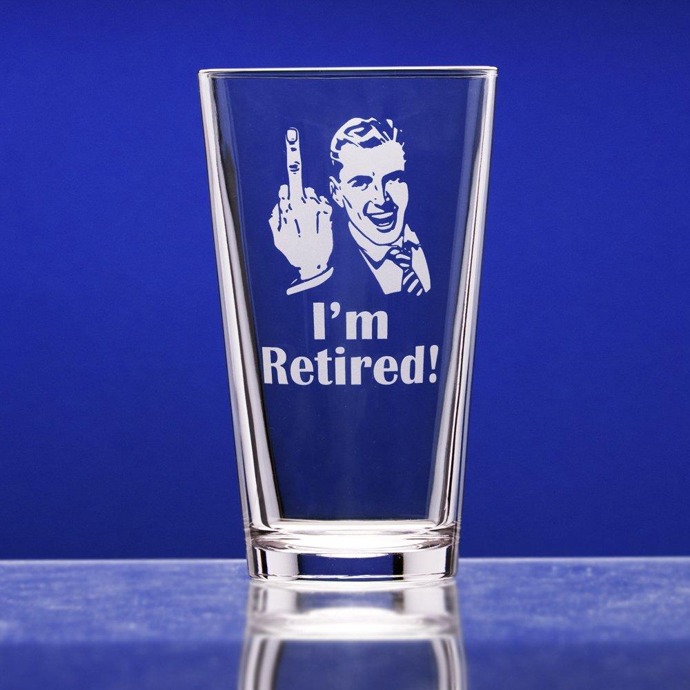 "Retirement Gift Celebration Glass, Drinking Glass for Men, Funny Beer Glasses for Retired Adult Men - ""I'm Retired!"" Pint Glass by Crass Glass (Image #6)"