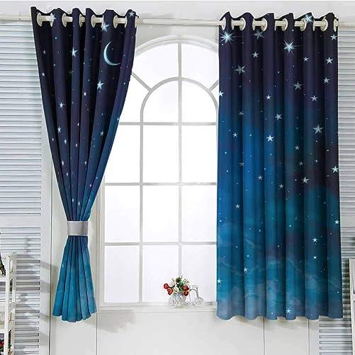 Jinguizi Grommet Window Curtain Boys Room Decor Sky,Abstract Night Time Illustration Stars and Crescent Moon Constellation Astrology,Blue Dark Blue Light Curtain 72 x 63 inch