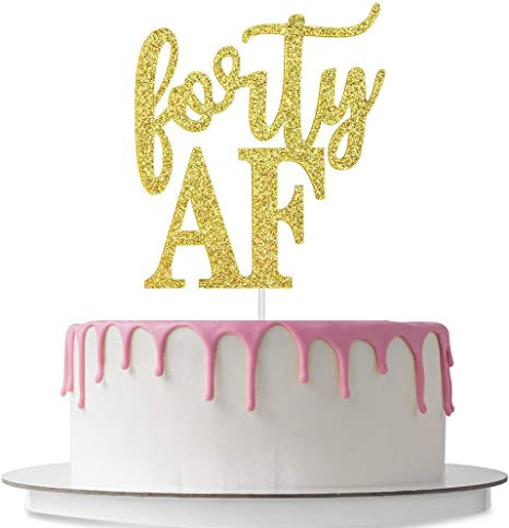 forty 40 Gold Glitter Card Cake Topper double sided 40th birthday