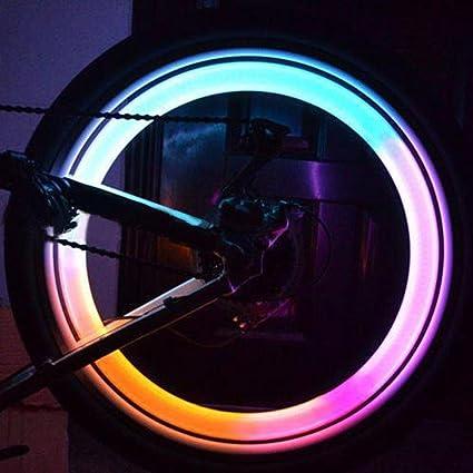 ZHUOTOP - 2 piezas led de colores para radios de bicicleta, con luz, brillantes: Amazon.es: Coche y moto