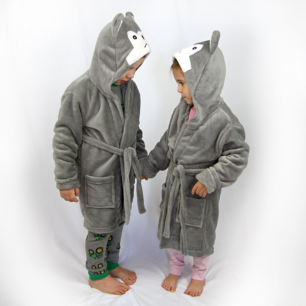 Hooded Fleece Robes for Toddlers Keeps Kids Cozy! Toddler Robe Calms Children! Cute and Warm Kids' Robe for Boys and Girls (Gray Wolf) by Happy Healthy Parent (Image #2)