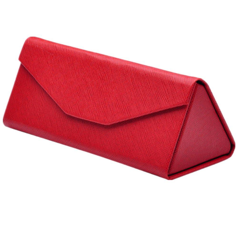 Westeng Scatola di occhiali da sole di forma triangolare in PU veinure pieghevole, 16 * 6.8 * 6.4 cm, rosso