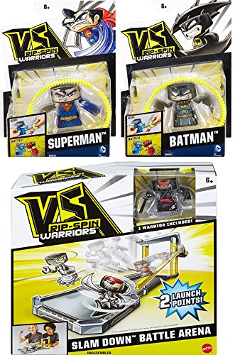 Superman Costume Then And Now (Batman VS Superman VS Ninja Rip-Spin Warriors Slam Down Battle Arena Play Set DC Comics toy bundle set)