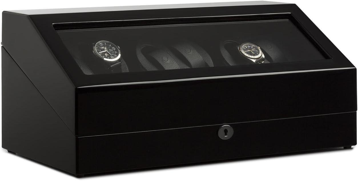 Klarstein Old Marshall - Estuche bobinadora para Relojes, Caja para Relojes, 10 Relojes, 2 Bobinas con 2 Soportes c/u, Rotación bidireccional, Modos Preprogramados, Silencioso, Negro