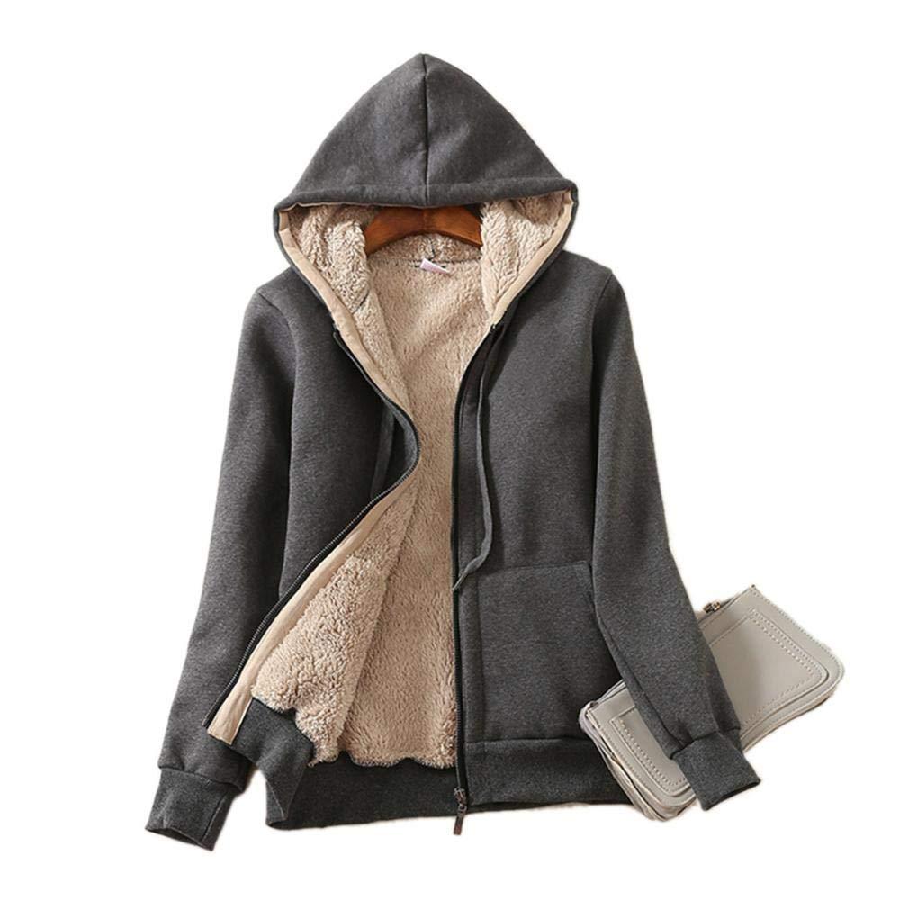 Dark Grey Manyysi Women Casual Winter Warm Sherpa Lined Zip Hoodie Sweatshirt Jacket Coat