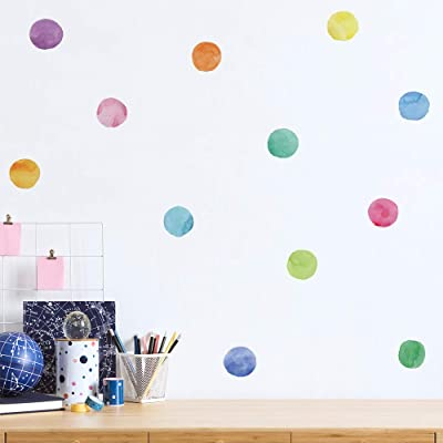 Assorted Colors Gradient Wall Stickers Polka Dot Wall Decals for Nursery, Kids Room, Mirrors, and Doors: Arts, Crafts & Sewing
