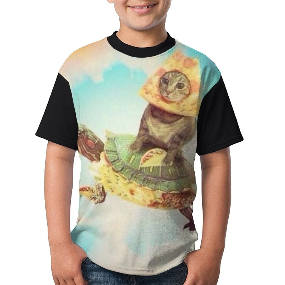Space Cat Turtle Boys Girls Running T Shirt 3D Printed Tee Round Top X-Small