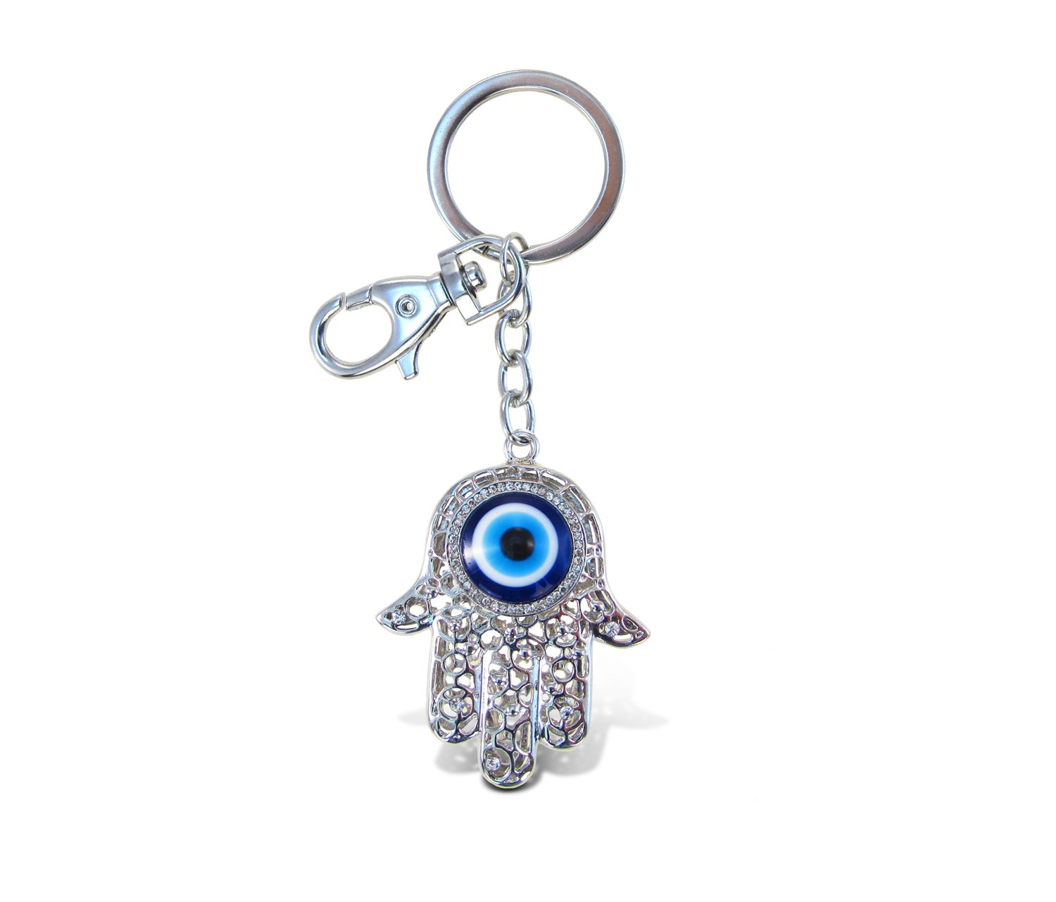 """Puzzled Sparkling Elegant Charms """"Evil Eye"""" Metal Ring Keychain Cute for Kids Girls Teens Women Bag Tote Backpack Car Key Mobile Phone Decoration Great for Party School Birthday Favors 4 Inch"""