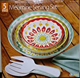 Laurie Gates Melamine Serving Set, Red/Green/Blue, 5 Pieces