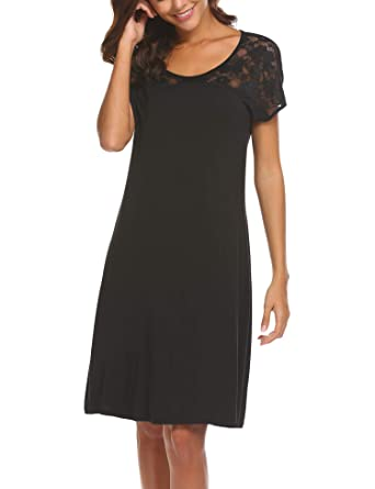 0e0b0f35b109b HOTOUCH Female Short Sleeve Nightgown Sleepwear Summer Slip Night Dress  Black Small
