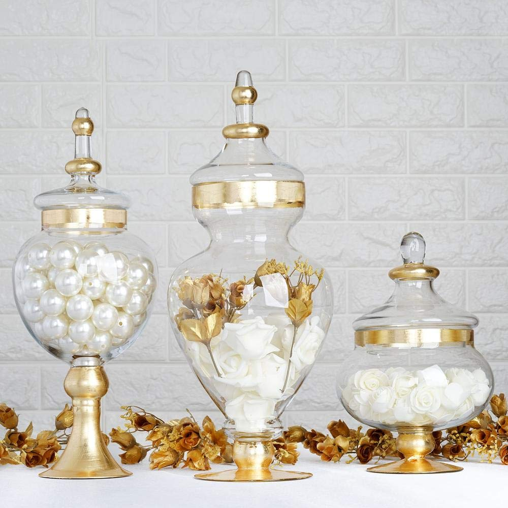"Efavormart Set of 3 Metallic Gold Rimmed Apothecary Glass Candy Jars Candy Buffet Containers with Lids -11""/16""/18"""