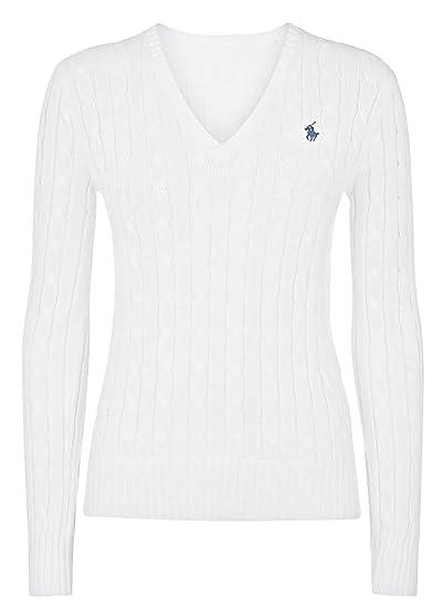 Ralph Lauren Polo para mujer Cable Knit cuello en V jersey azul ...