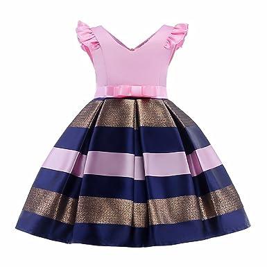 Zhhyltt Princesa Vestido de Niña Bowknot Rayas(3-10 Años ...