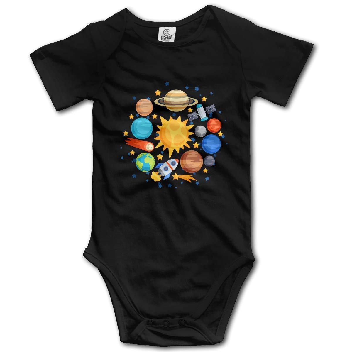 CDHL99 Solar System Planets Newborn Infant Baby Short Sleeve Bodysuit Rompers 0-2T