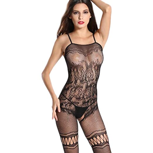 219e40f7b93 Cywulin Women s Sexy Fishnet Crotchless Bodystocking Open Crotch Strap  Stretch Lingerie Stockings Babydoll Bodysuits (C