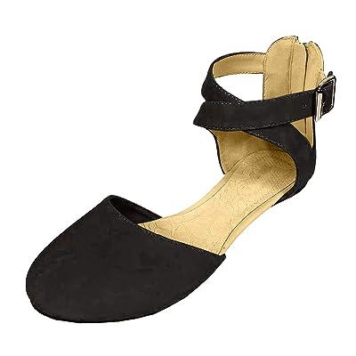 SODA Women's KINER Darling Almond Toe Criss Cross Ankle Strap Flat | Sandals