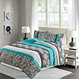 Sally Quilt Set Twin XL/Twin Bedding Set - Teen Girl 2 Pieces - Aqua Blue/Black - Zebra, Damask, Polka Dot Print - Hypoallergenic Soft Microfiber All Season Twin Coverlet