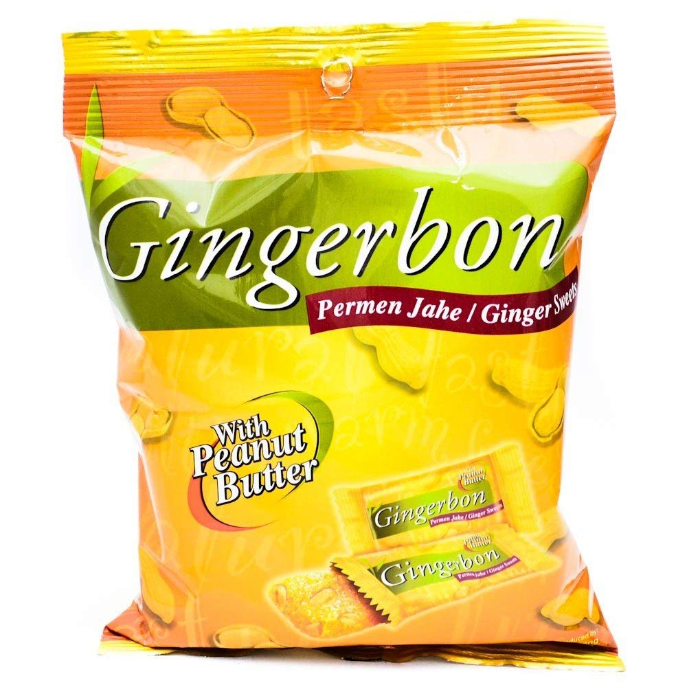 Gingerbon Permen Jahe - Ginger Sweets Candy with Peanut Butter, 125 g/4.4 oz (Pack of 3)
