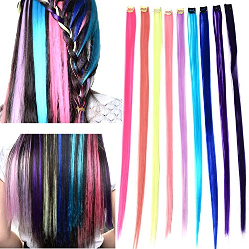 Remylady 22'' Synthetic Fiber Rainbow Multi-Color Clip On In Hair Extensions Party Highlights Straight Hairpieces ( 9 color ) hair pieces for birthday party