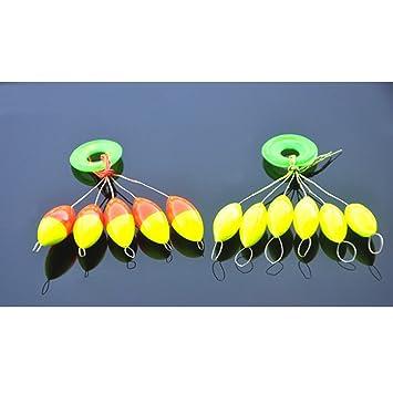 VORCOOL 5pcs Colorido Elíptico Señuelo de la Pesca Pesca Bat Kit Flotador Tamaño L (Amarillo): Amazon.es: Deportes y aire libre