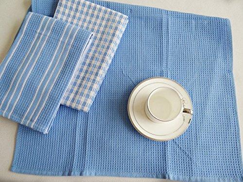 HNK Thick Waffle Tea Towels Kitchen Cotton Dish Set Blue Grey 3pcs/pack Cloth Napkins Gift (Blue Set) (Napkins Vera)