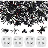 EOOUT Halloween Spider Decorations (4 Pack Stretch Spider Webs + 126pcs Halloween Spiders) (4 Packs)