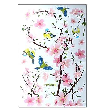 Pfirsich Blume und Voegel Romantisches Wandaufkleber Wandtattoos Türaufkleber für Wohnzimmer Dekor