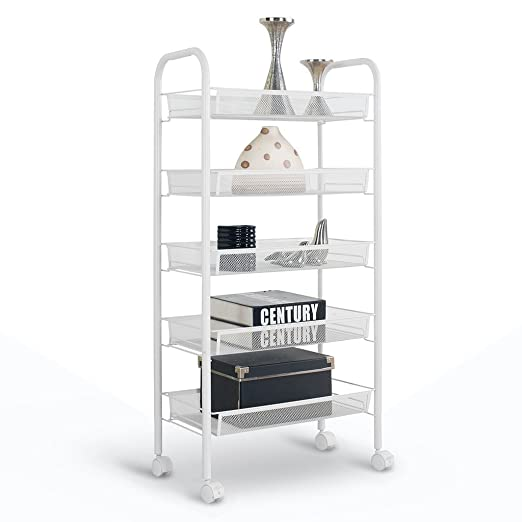 Floureon 5-Tier Metal Mesh Rolling Cart Trolly Organizer Shelves Handle Portable Utility, Easy Moving