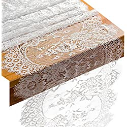 "Crisky 14"" x 120"" Lace Table Runners Lace Overlay with Rose Vintage Embroidered, Thin, Rustic Romantic Wedding Decor, Bridal Baby Girl Shower Decoration, Vintage French Country Farmhouse Decor"