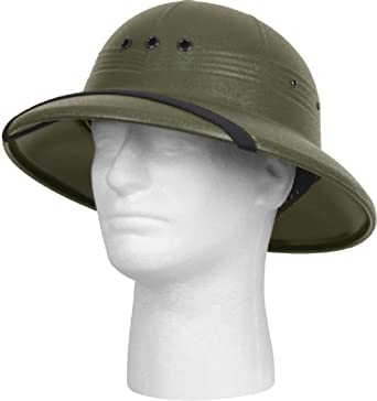 73cf7a177ea2a Image Unavailable. Image not available for. Color  Pith Helmet Vietnam  Style Light Weight Hard Plastic Safari ...