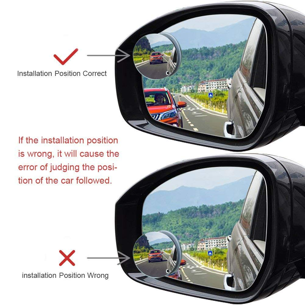 PRETTYGAGA Blind Spot Mirror 2 inches Round HD Glass Frameless Convex Rear View Mirror Pack of 2