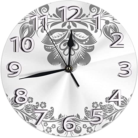 Imagen deDZCP-y Reloj de Pared Redondo Sin tictac Patrón botánico Vintage Blanco Reloj de Arte de Pintura al óleo con Pilas