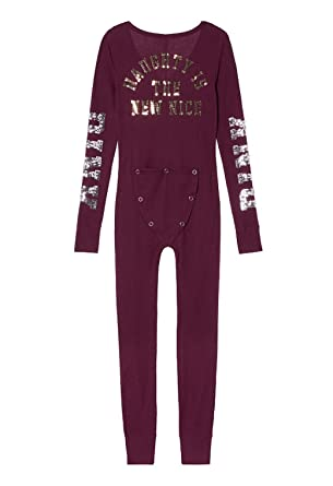 Victorias Secret Pink Bling Thermal One Piece Pajama Onesie S At
