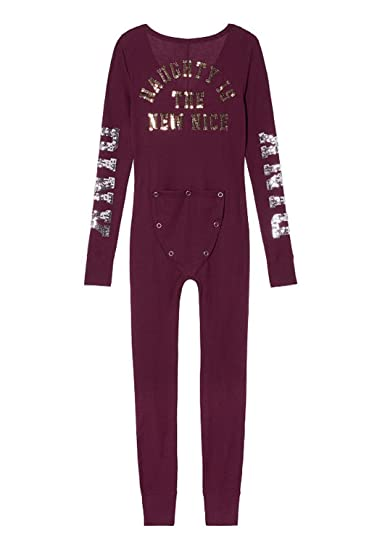 e712b49c0c4b Victoria s Secret Pink BLING Thermal One Piece Pajama Onesie (S) at Amazon Women s  Clothing store
