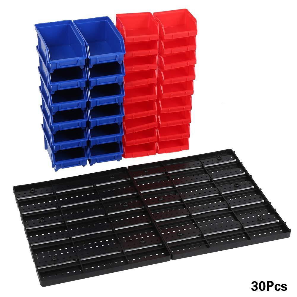 Estanter/ía de pared con cajas apilables soporte para herramientas estanter/ía de taller estanter/ía con placas de pared fuertes Cocoarm 30 piezas