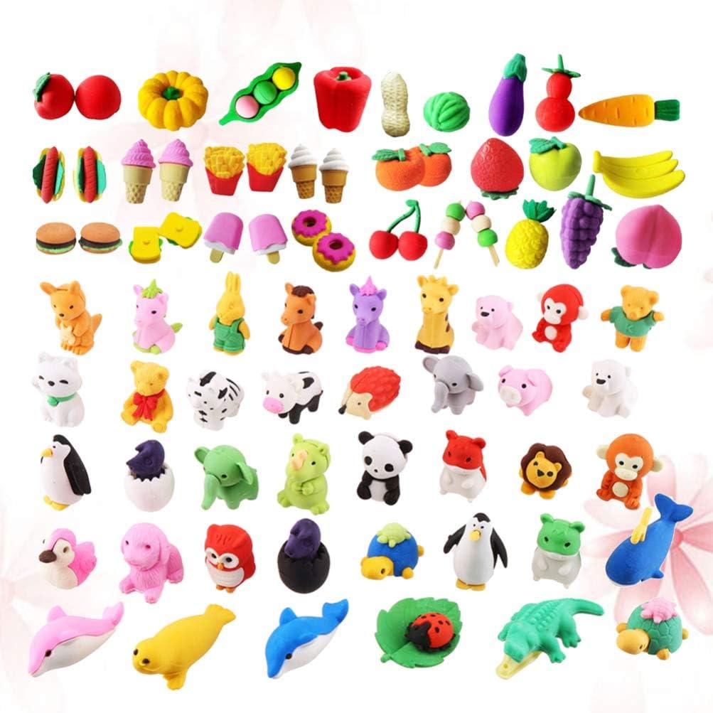 NUOBESTY Gomme /à Crayon Assorti Puzzle Gommes /à Effacer Color/é Animal Fruit en Forme de L/égume Gomme Jouet Enfants Jouets /Éducatifs /Él/èves de L/école Papeterie 100 Pcs