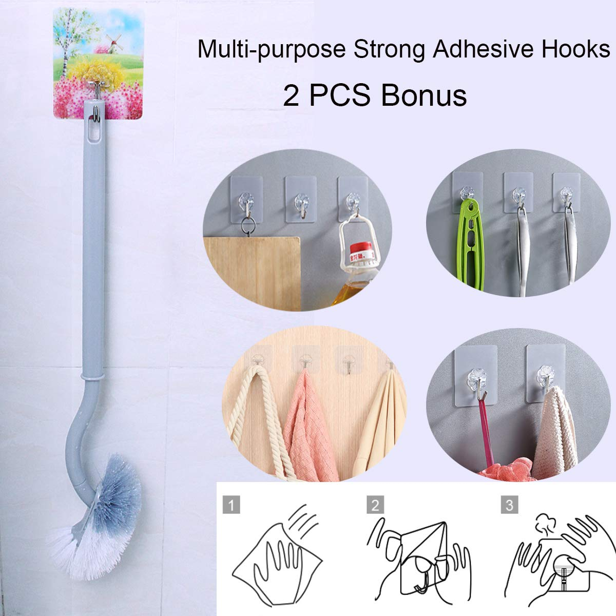 2 Pack 2 Pack Gray YAOYUE Bathroom Curved Compact Handle Toilet Bowl Brush Strong Bristles with 2 Pcs Bonus Adhesive Hooks