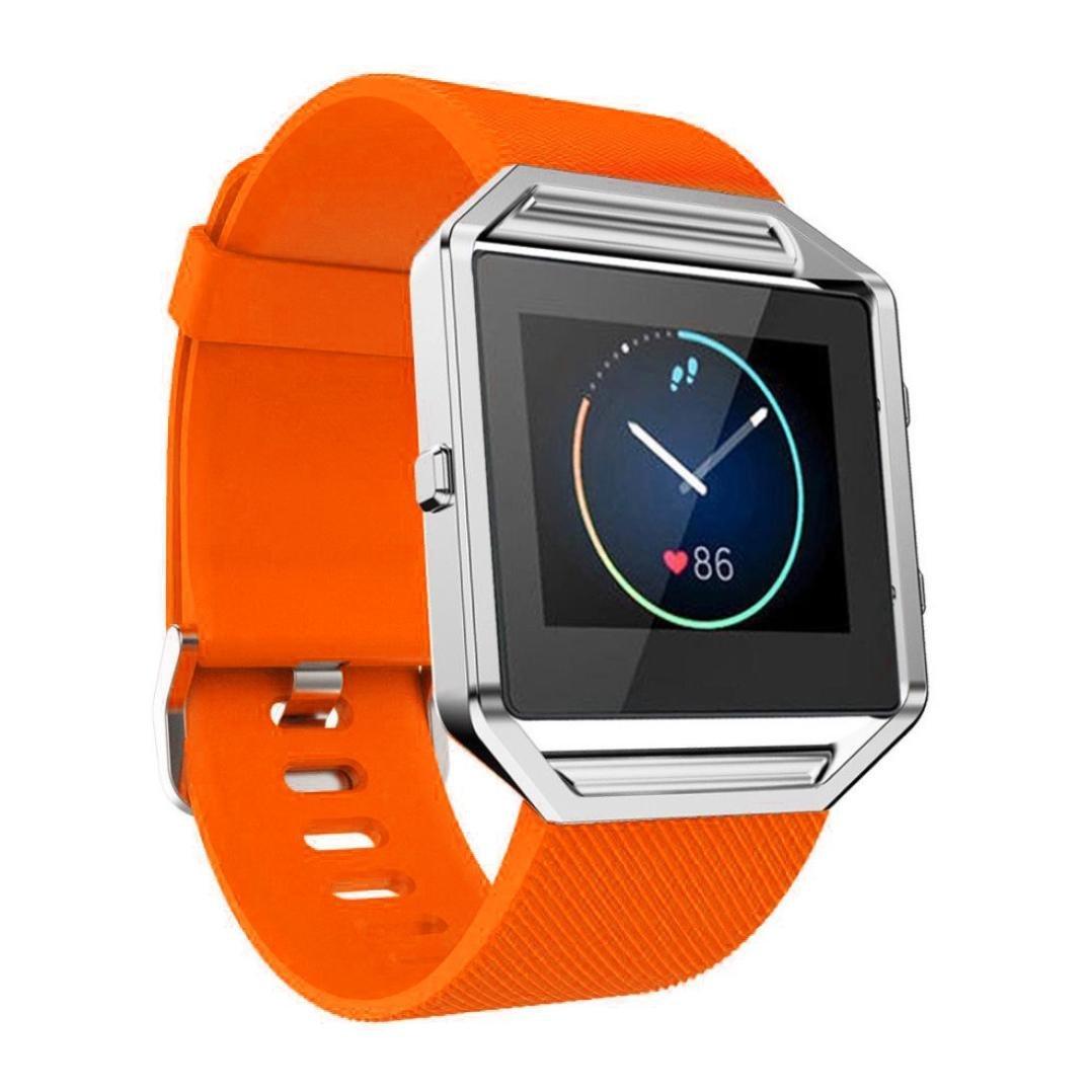 Xinantime para Fitbit Blaze, Correa de Banda de la Muñeca Reloj Blando de Silicona (Naranja): Amazon.es: Deportes y aire libre