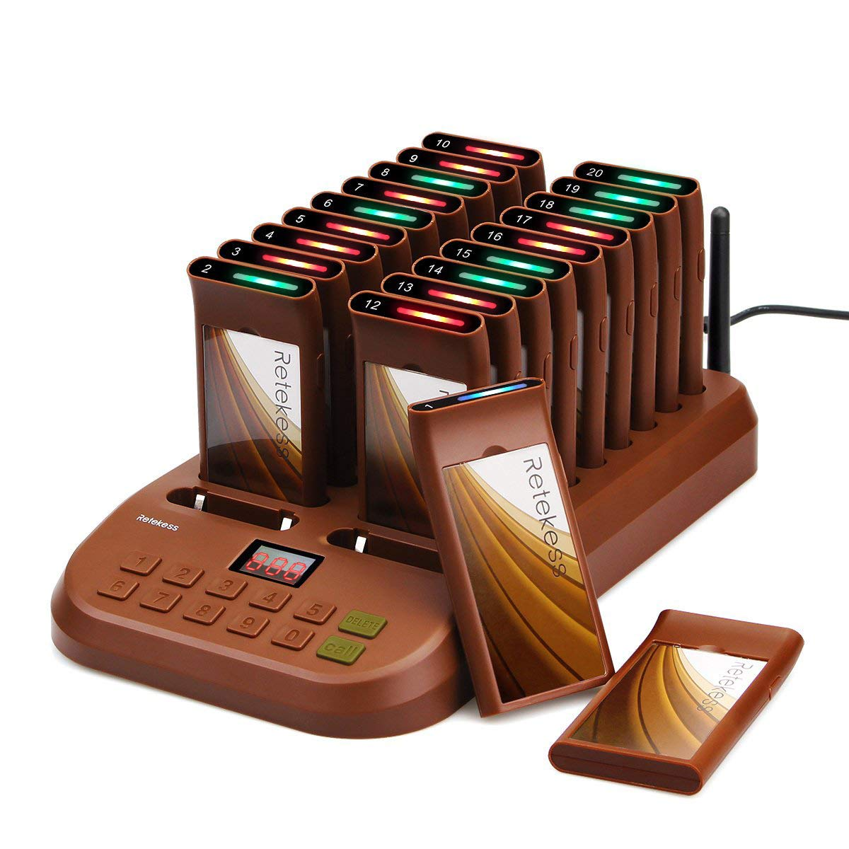 Retekess T116 Pager System Restaurant Pager System Long Range Max. 999 Restaurant Pager with 1 Keypad Transmitter 20 Coaster Pagers for Restaurants